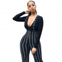 Printed Striped Sling Jumpsuit