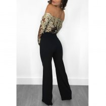 Womens Off Shoulder Guipure Lace Tie Waist Jumpsuit