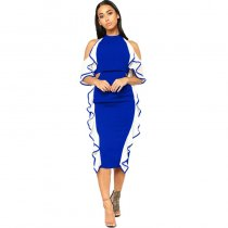 Law Of Attraction Colorblock Dress - Blue/White