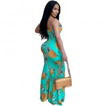 Pineapple Print Cut Out Draped Off Shoulder Bohemian Maxi Dress
