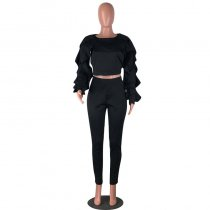 Casual Long Sleeves Flounce Black Two-piece Pants Set