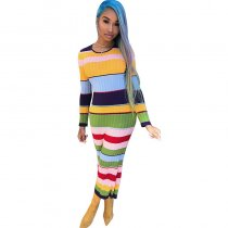 Fashion Patchwork Striped Multicolor Dresses