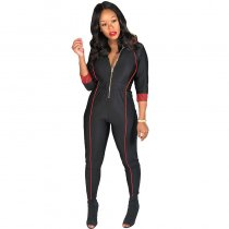 Zip Up Long Sleeve Cinched-Waist Sexy Jumpsuit
