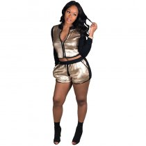 Gold Patchwork Zippers Sequin Two-piece Shorts Set