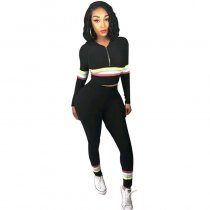 Hooded Collar Striped Black Two-piece Pants Set