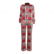 Casual Grids Printed Red Two-piece Pants Set
