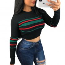 Striped Long Sleeve Short Top