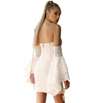 Baroque Lace Dress In Beige Wtih Flare Sleeve