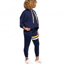 Contrast Sports Hooded Two-piece Suit