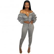 Slash Neck Thickened Space Sleeve Jumpsuit