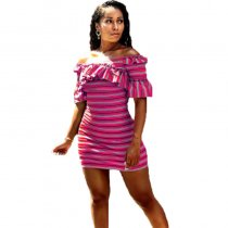 Off Shoulder Ruffled Stripe Print Mini Dress