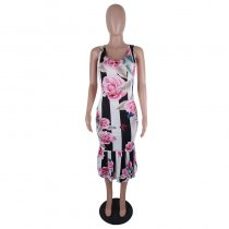 Printed Rose Flower Sleeveless Mid Dress