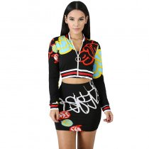 Fashion Hipster Print Long Sleeve Skirt Set