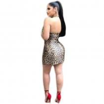V-neck Halter Leopard Sexy Dress