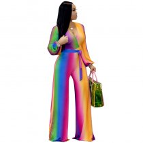 Gradient Color V Neck Wide Leg Vibrant Thing Jumpsuit