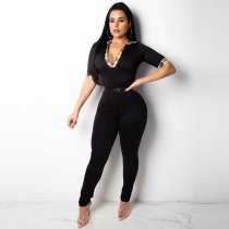 Casual Skinny Black One-piece Jumpsuit