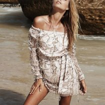 Fashion Off-shoulder Lace Sequins Embellished Dress