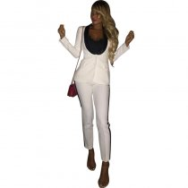 Work Long Sleeves Patchwork White Two-piece Pants Set