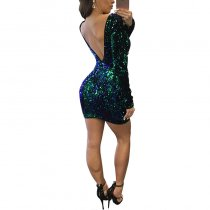 Backless Sequins Sexy Club Dress