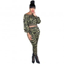 Camouflage Ribbed Sports Suits