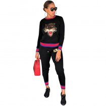 Black Tiger Love Knitted Pant Set
