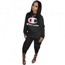 Letter Embroidery Sweatsuit Two Piece Set