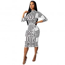 Casual Plaid Printed Knee Length Dress