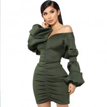 Allana Puff Sleeve Ruched Dress