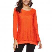 Solid Color O Neck Lace-carved  T-shirt