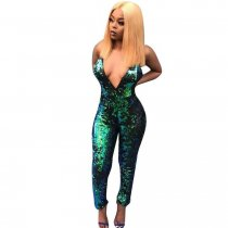 Sexy Sequined Decorative Green Jumpsuit