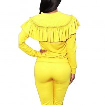 Womens Ruffles Yellow Full Sleeve Top And Pants