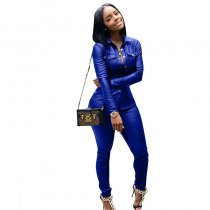 PU Leather Cardigan Sports Set