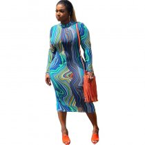 Long Sleeve Printed Midi Dress