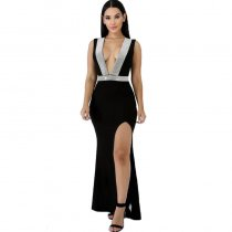 Sleeveless Deep V-neck Split Long Dress