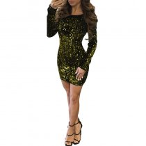 Sexy Backless Sequined Decorative Mini Dress