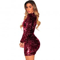 Patchwork Sequin V-neck Long Sleeve Bodycon Dress
