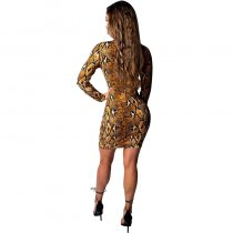 Fashion Hidden Snake Print Dress