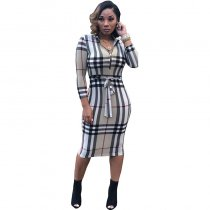 High Neck Zipper Plaid Midi Dress