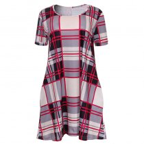 Plaid Short Sleeve Casual T-Shirt Dress