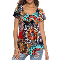 Casual Sexy Printed Button Top