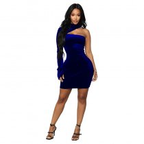 Solid Sexy One Sleeve Bodycon Mini Dress