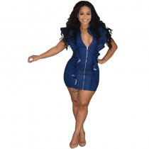 Denim Flounced Short Sleeve Mini Dress
