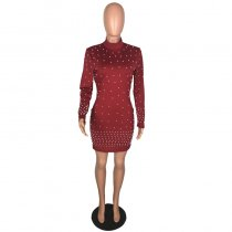 Beaded Long Sleeve Bandage Dress