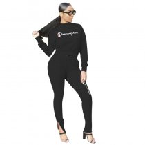 Casual Long Sleeve Letter Sports Pants Set
