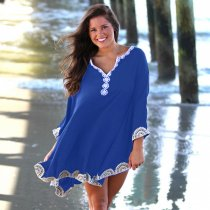 Bat Sleeve Cotton Embroidered Beach Cover