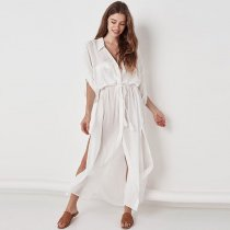 Cotton Button Shirt Collar Beach Maxi Blouse