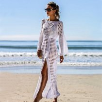 Casual Sexy Hollow Out Sandbeach Sunscreen Knitted Sweater Maxi Dresses