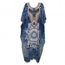 Fashion Printed Colour Chiffon Loose Beach Dress