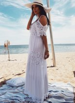 2019 Lace Long Beach Covered Maxi Dress
