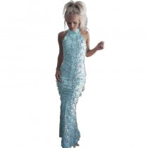 Jujube Sleeveless Turtleneck Tassel Sequin Maxi Dress